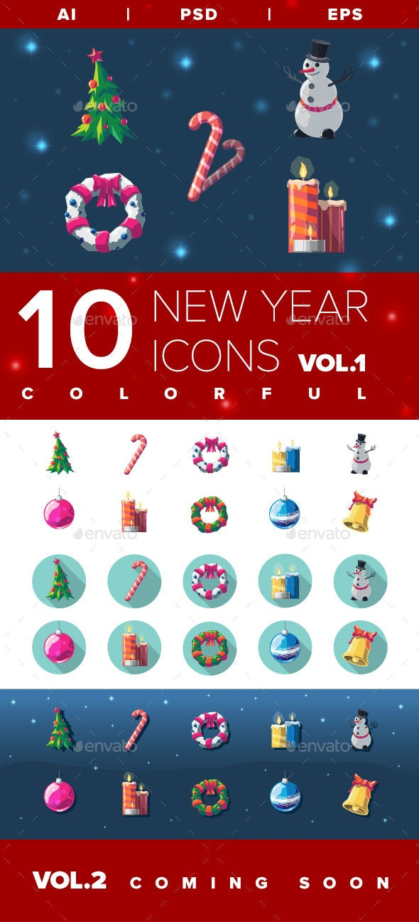 New Year & Christmas Icons Vol.1