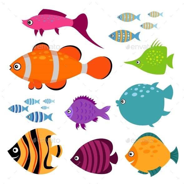 Cute Vector Fish Set. Smiling Swimming Aquarium