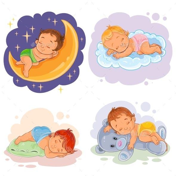 Set Illustration Babies Sleep