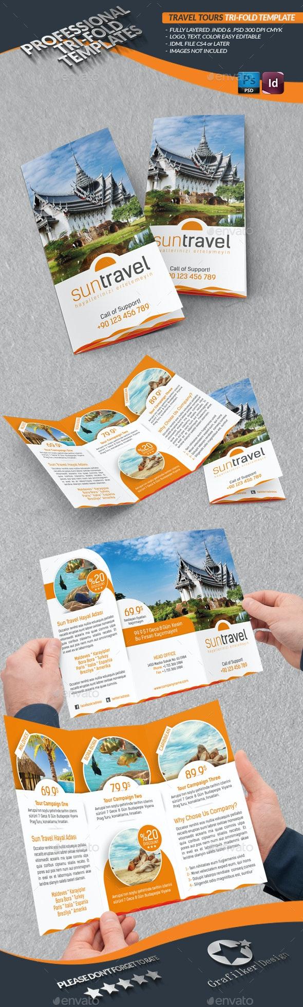 Travel Tours Tri-Fold Templates - Brochures Print Templates