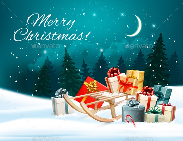 Christmas Background with Presents on a Sleigh - Christmas Seasons/Holidays