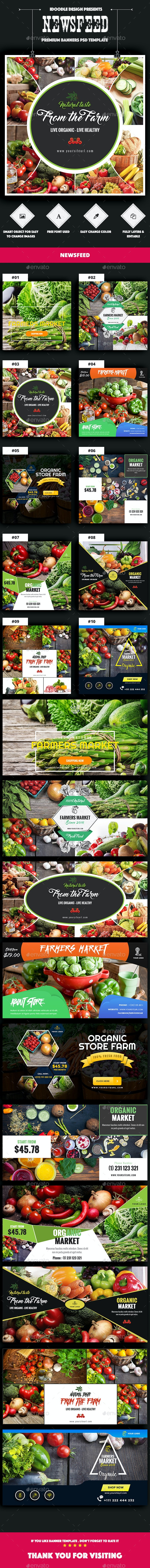 Organic Store, Farm Market, Fresh Food Newsfeed Facebook Ads - 20 PSD [02 Size Each] - Banners & Ads Web Elements