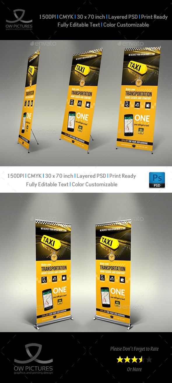 Taxi Services Signage Roll-Up Banner Template - Signage Print Templates