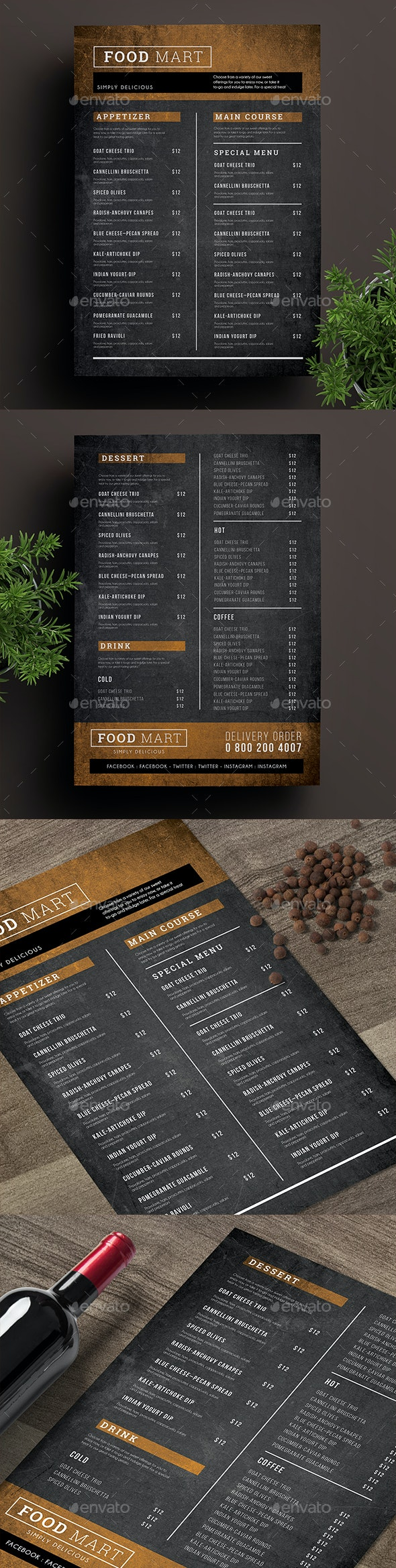 Simple Chalkboard Menu - Food Menus Print Templates