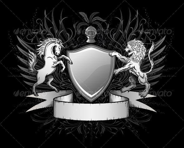 Lion and Horse Shield Insignia - Backgrounds Decorative