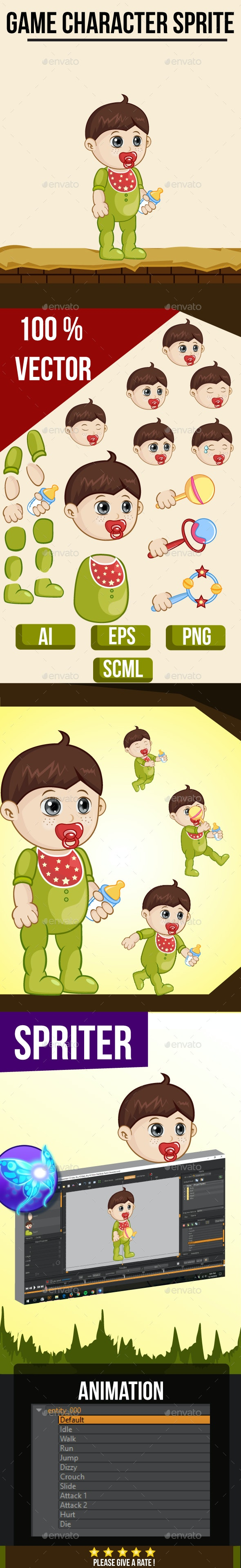 Baby Boy #2 Sprite Character - Sprites Game Assets