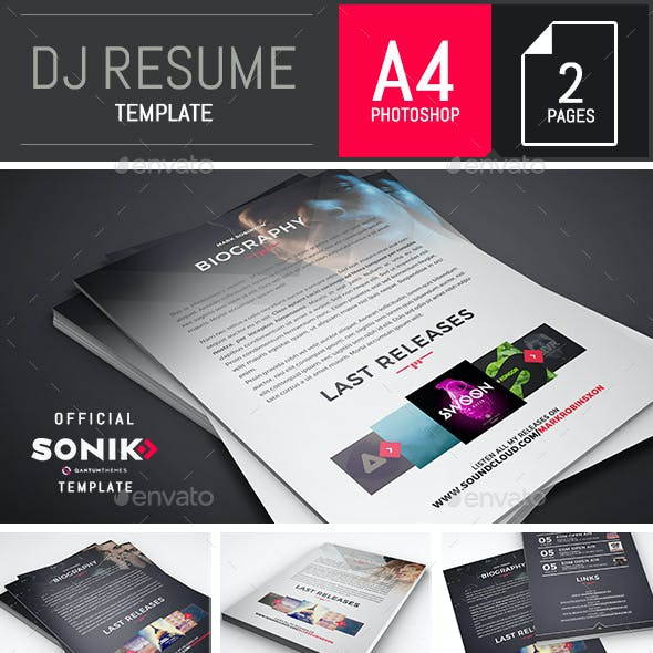 SONIK: Dj and Musician Resume Photoshop Template
