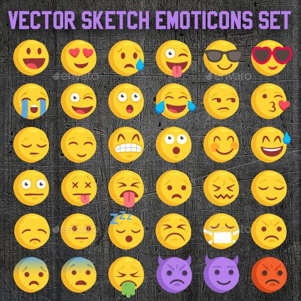 Big 36 Rough Sketch Vector Emoji