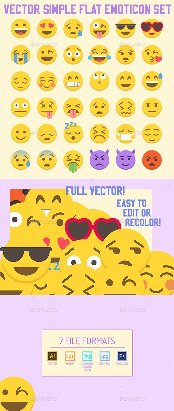 Big 36 Simple Flat Vector Emoji set