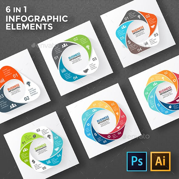 Circle Geometric Figures For Infographic. PSD, EPS, AI.