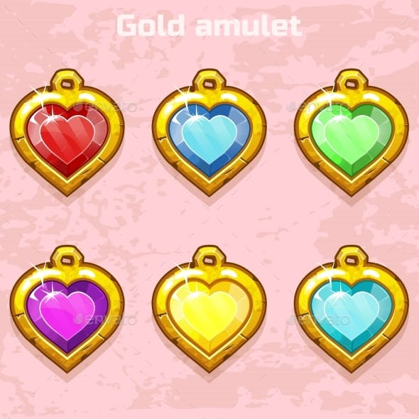 Golden Old Amulets Hearts with Gems