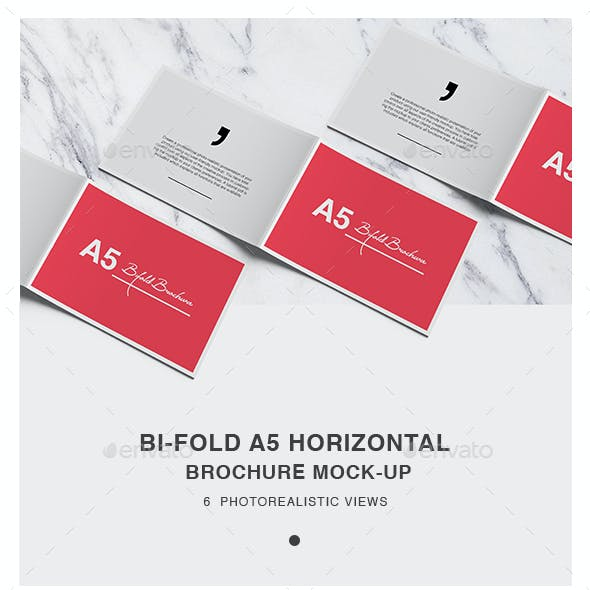 Bi-fold A5  Horizontal Brochure Mockups
