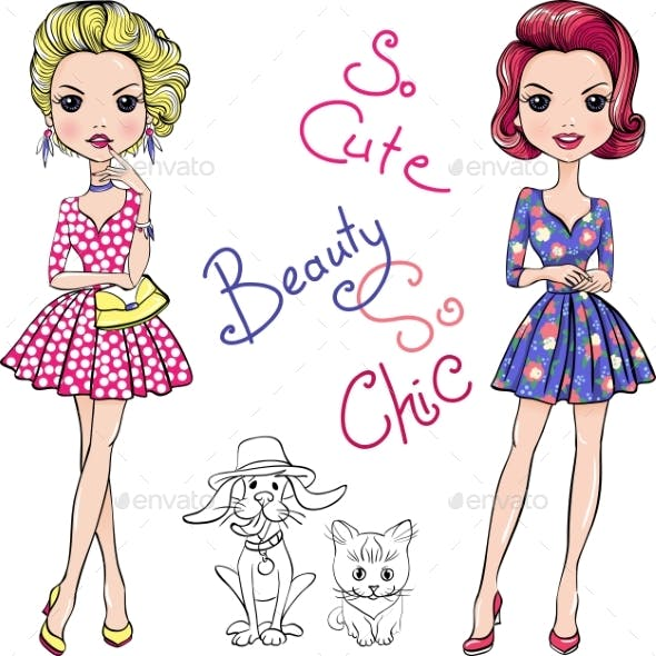Fashion Girls with Dog and Cat