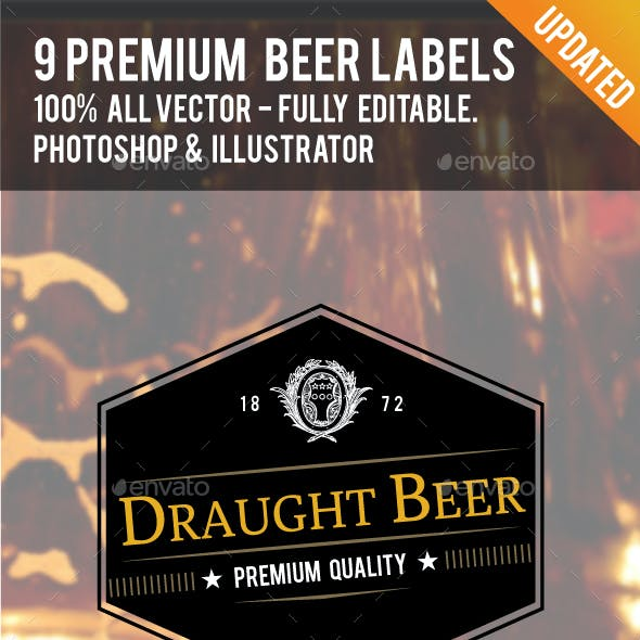 9 Premium Beer Labels