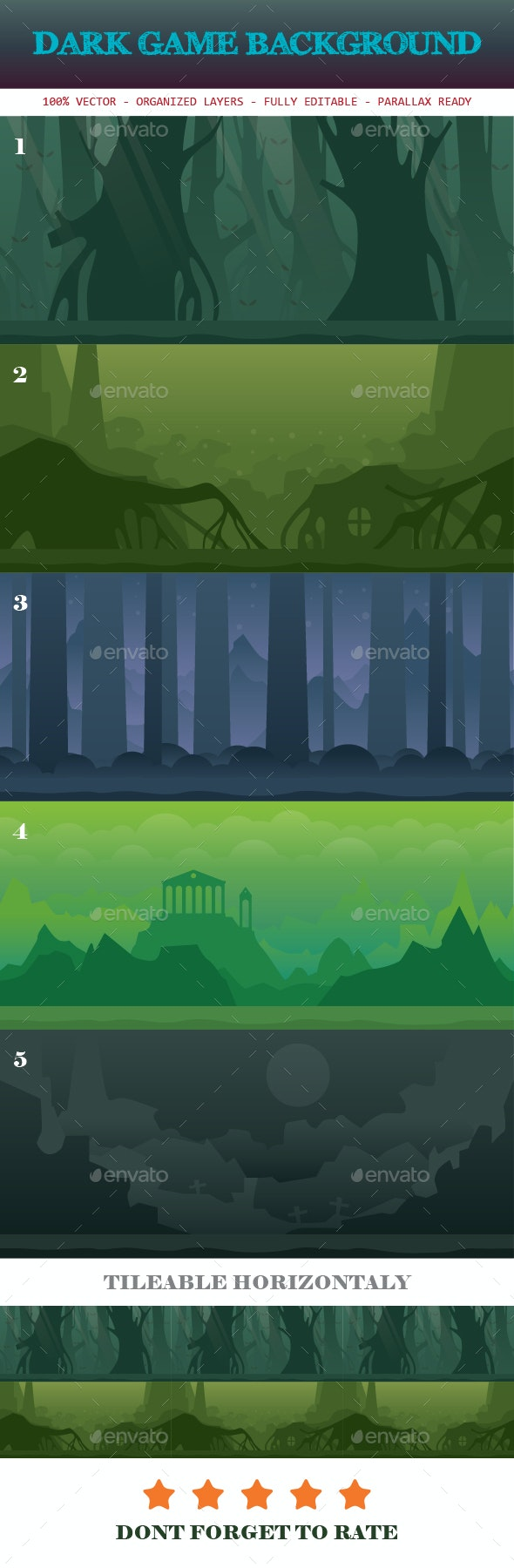 Dark Game Background Template - Backgrounds Game Assets