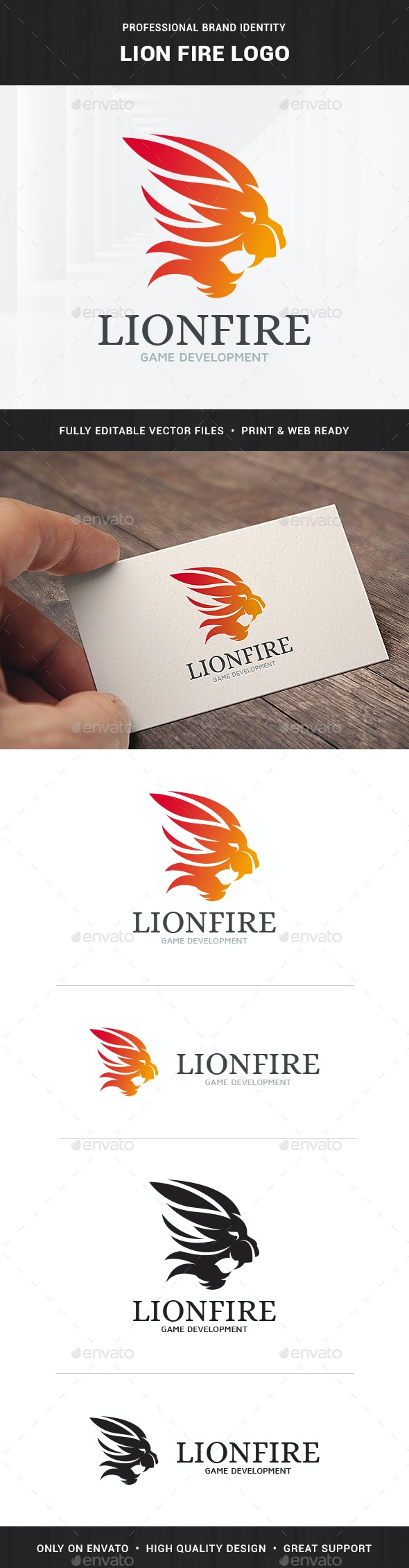 Lion Fire Logo Template - Animals Logo Templates