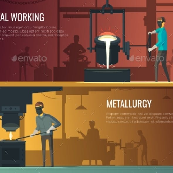 Industrial Metallurgy Foundry 2 Retro Banners