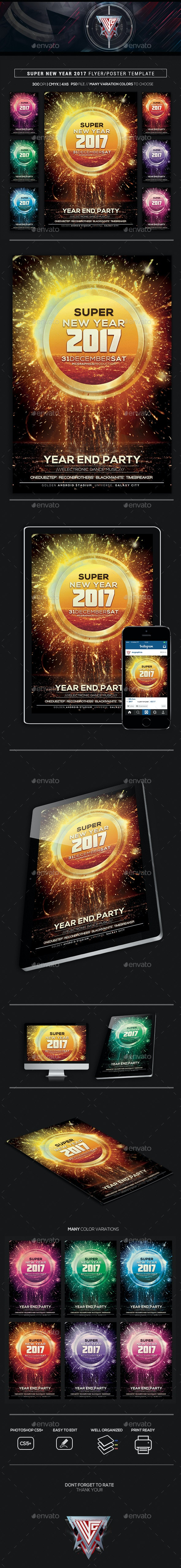 Super New Year 2017 Flyer/Poster Template - Flyers Print Templates