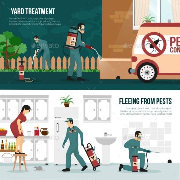 Pest Control Technology Flat Banners Set