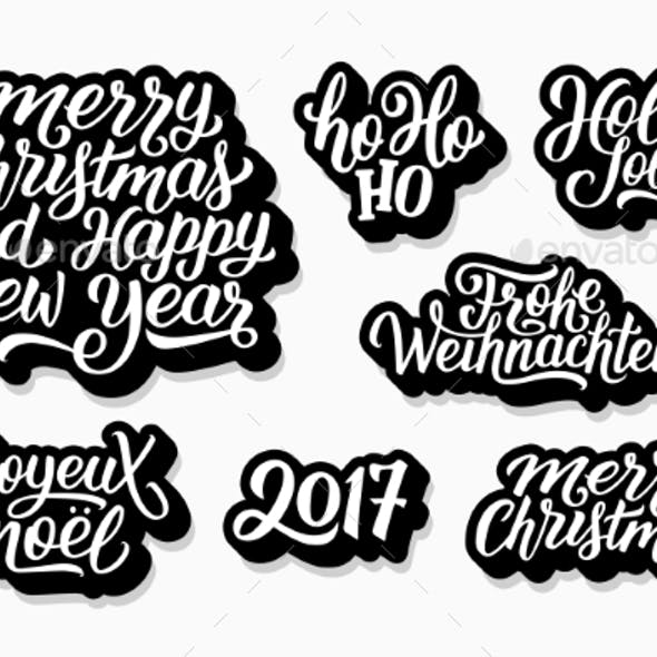Christmas and New Year Vector Labels Set