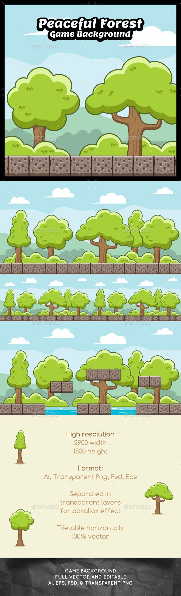 Peaceful Forest Game Background - Backgrounds Game Assets