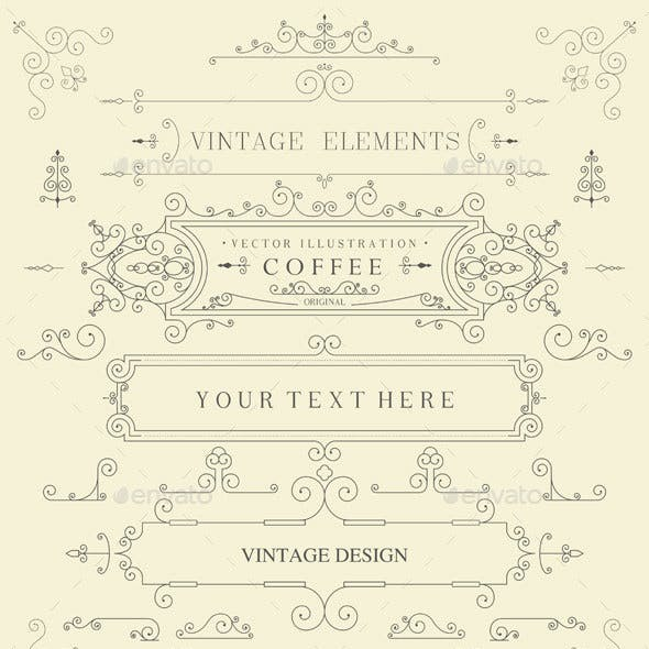 Decorative Thin Retro Elements