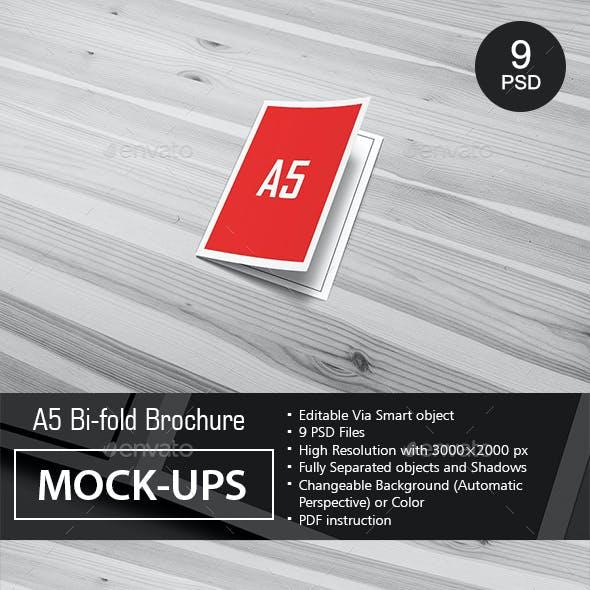 A5 Bi-Fold Brochure Mock-Ups