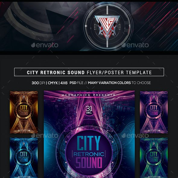 City Retronic Sounds Flyer/ Poster Template