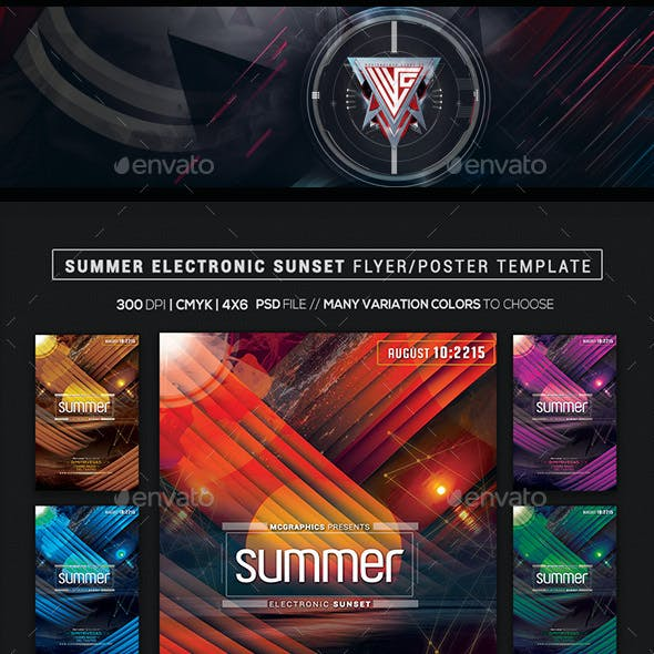 Summer Electronic Sunset Flyer/ Poster Template