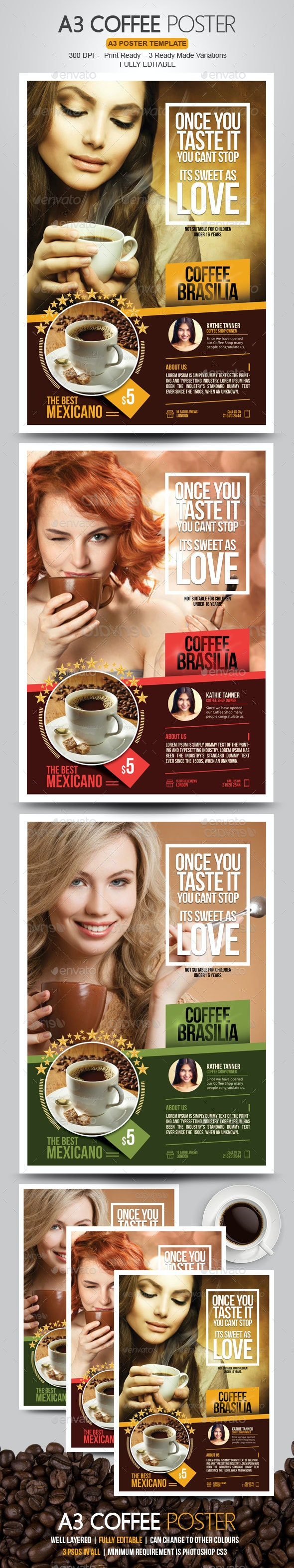 Coffee Poster for Coffee Shops - Commerce Flyers
