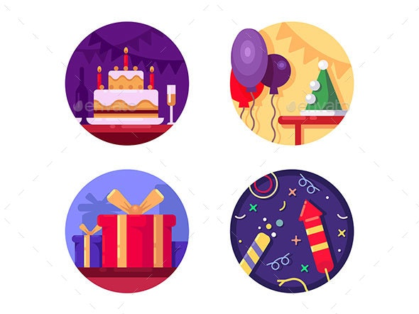 Birthday Icon Flat Color