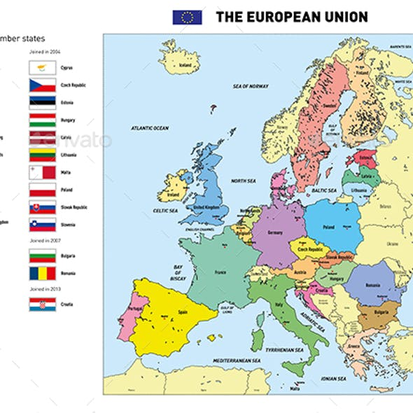 Vector Map of The European Union with Flags and Capitals