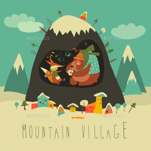 Snow Covered Village By the Mountain with Bear and