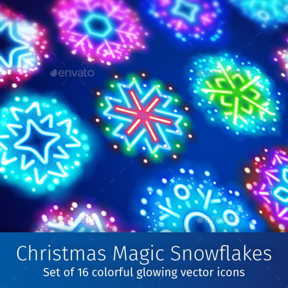 Christmas Neon Snowflakes with Magic Sparkles