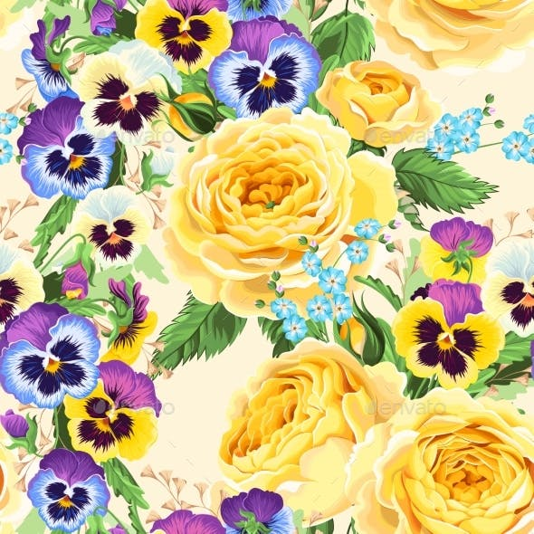 Roses and Pansies Seamless Background