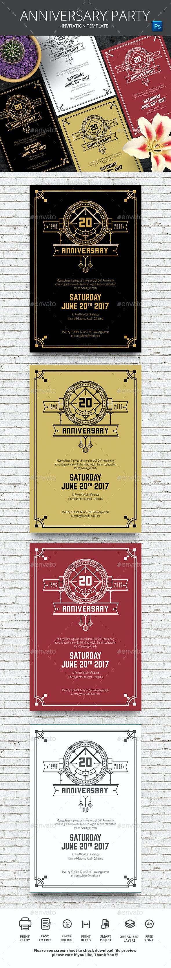 Anniversary Invitation - Weddings Cards & Invites
