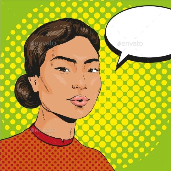 Vector Illustration of Asian Woman in Retro Pop