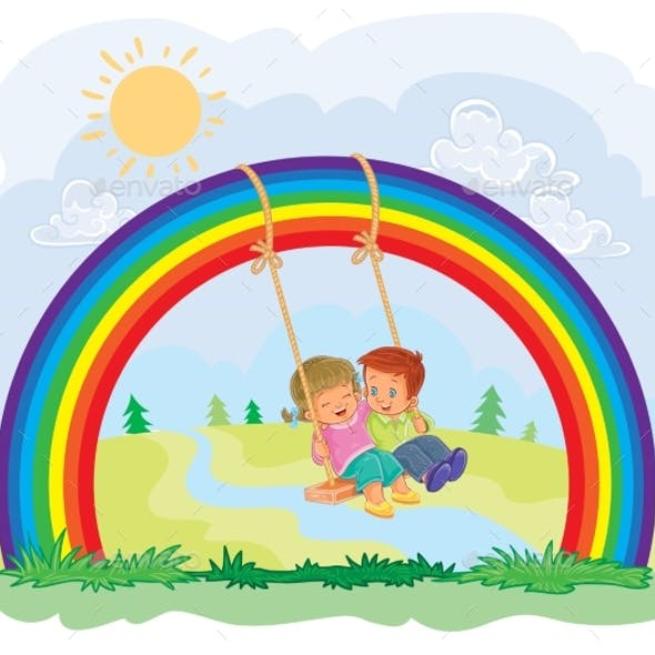 Carefree Young Children Swinging on the Rainbow