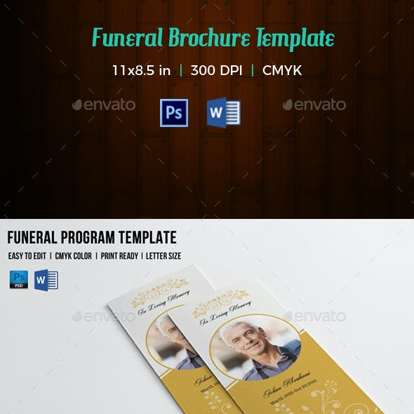Trifold Funeral Program Template-V144
