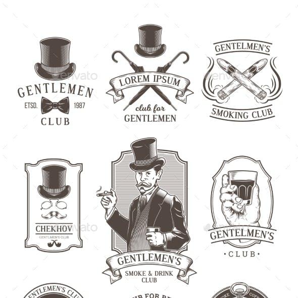 Set of Vintage Gentleman Emblems