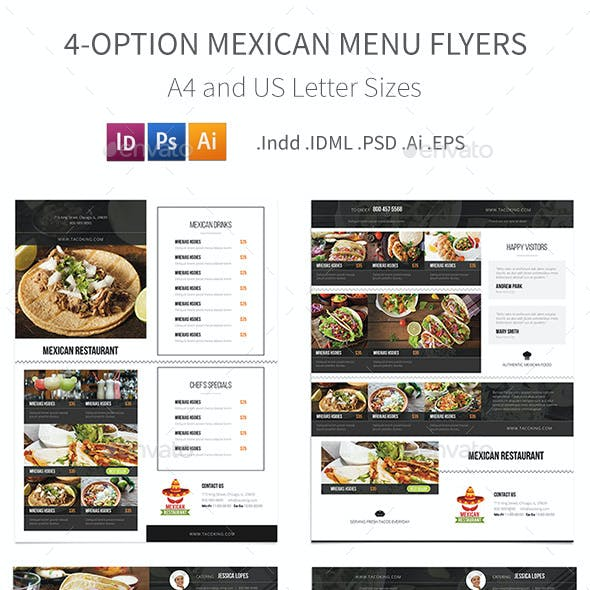 Mexican Restaurant Menu Flyers – 4 Options