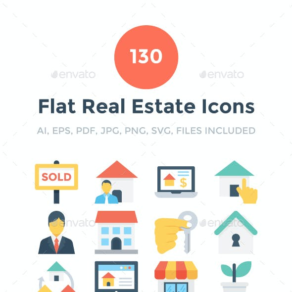 130 Flat Real Estate Icons