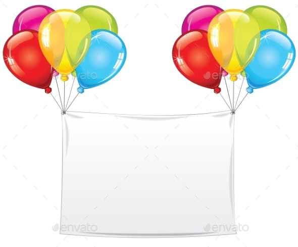 Blank Holiday Birthday Banner with Balloons - Backgrounds Decorative