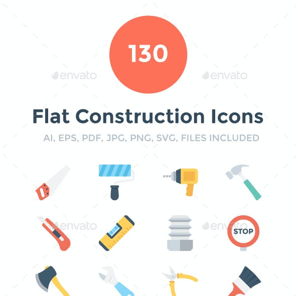 130 Flat Construction Icons
