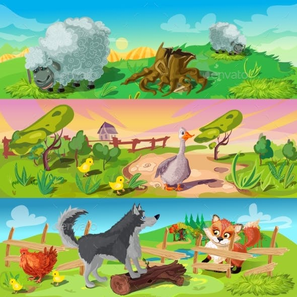 Farm Scenes Banners Set