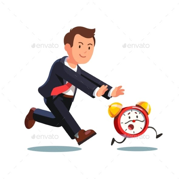 Business Man Chasing Deadline Time in a Rush Hour