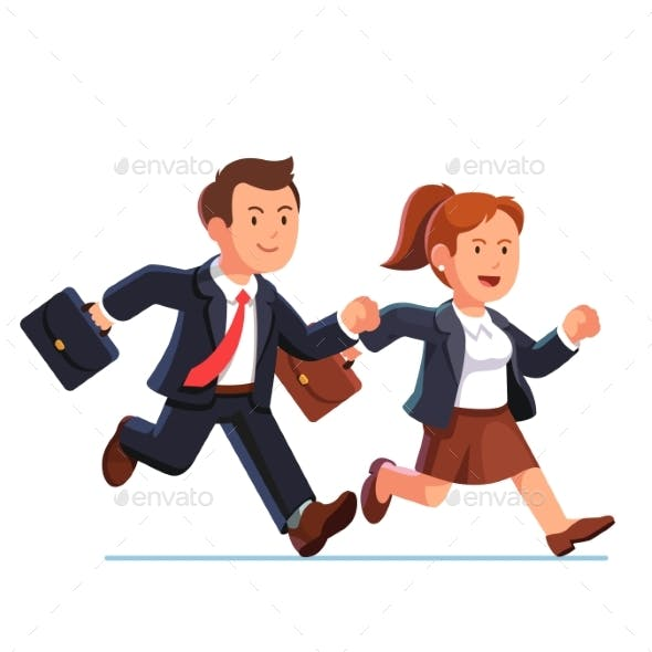 Business Woman and Man Running Fast Together
