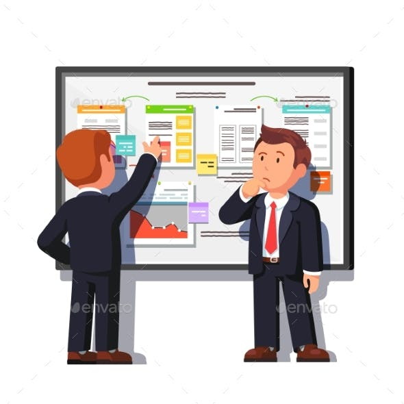 Business Man Showing Project Process to Boss