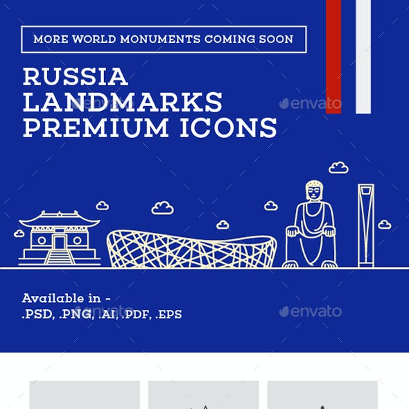 Russia Landmark Icons