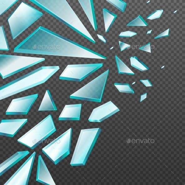 Window with Transparent Broken Glass Shards Vector